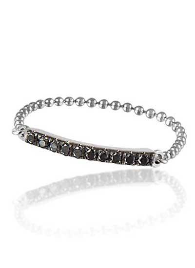 Sortija con cadena de Oro Blanco de 18k con diamantes negros (129€)