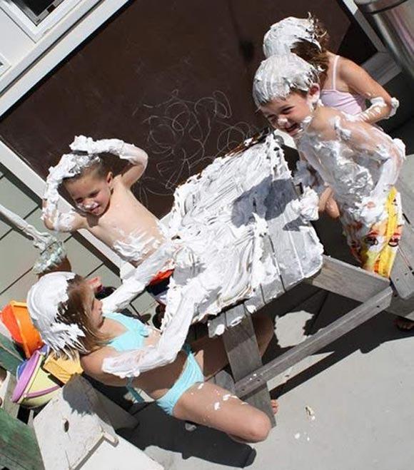 Juegos para niños con espuma