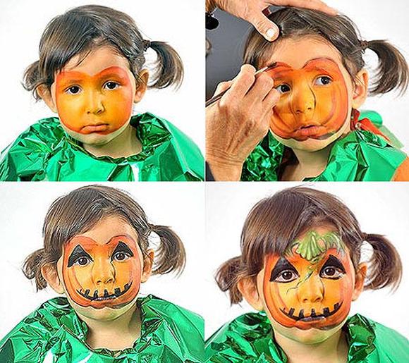 Maquillaje de calabaza para Halloween paso a paso