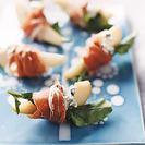 Aperitivo rápido para Navidad - Jamón, queso, rúcula y peras