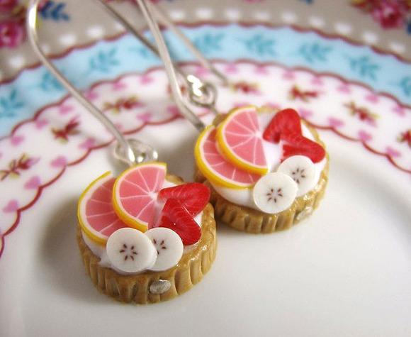 Pendientes colgantes con forma de tarta de frutas