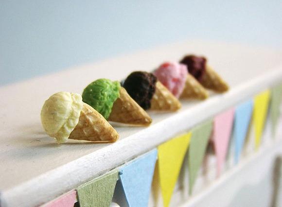 Pendientes con forma de helados de sabores ¡para el verano!
