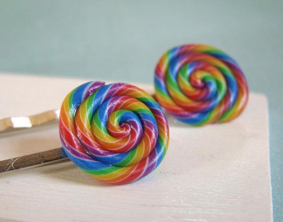Horquillas para niñas con decoración de piruletas de colores
