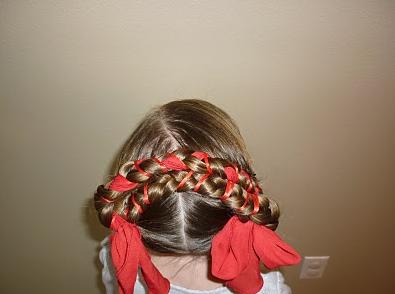 Peinados para niñas.  Recogido de trenzas.