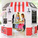Casas de cartón para niños: el café francés y el castillo medieval.