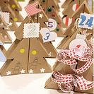 Calendario de adviento de arbolitos de Navidad
