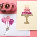 Invitaciones de cumpleaños hechas con washi tape