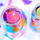 Lámparas con velas y muchos colores