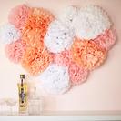 Manualidad pompones para decorar la pared