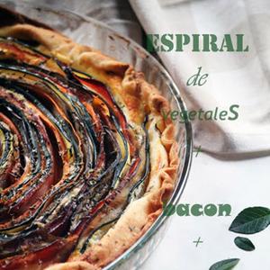 Espiral de vegetales , bacon y mascarpone