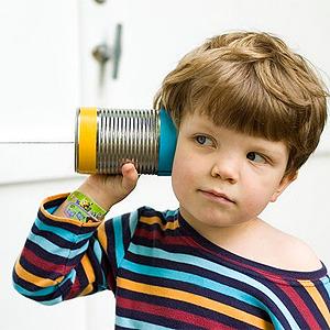 Teléfono con latas. Manualidad infantil