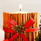 Manualidades navideñas en vídeo: Vela decorada con canela