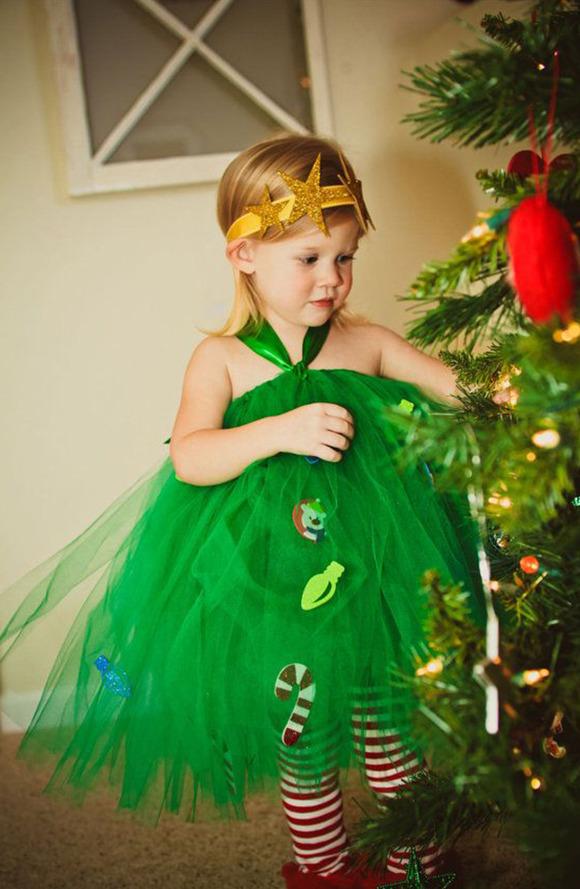 Disfraz casero fácil de Árbol de Navidad